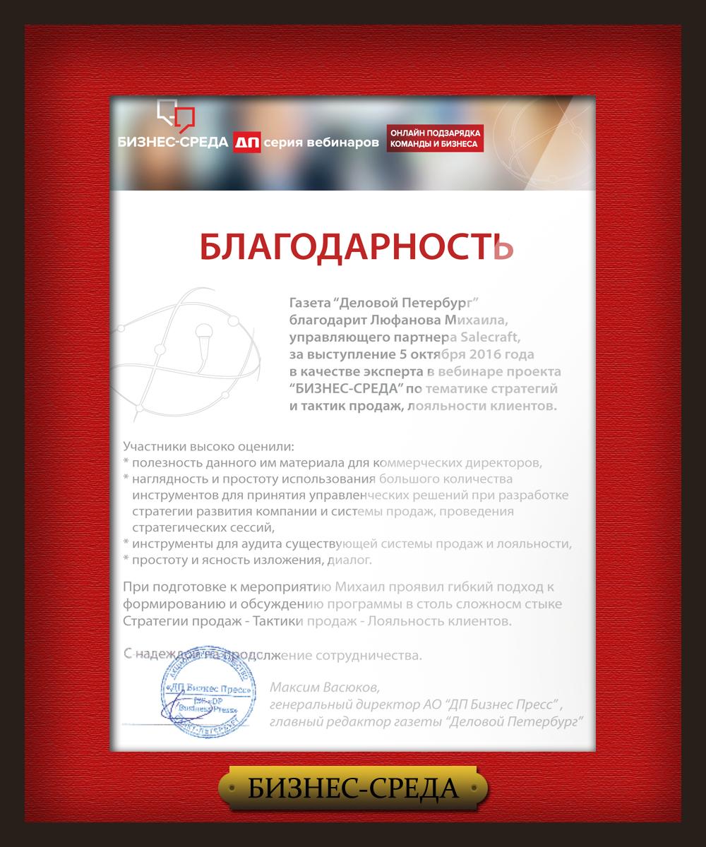 Вебинар Михаила Люфанова - благодарность компании БИЗНЕС-СРЕДА ДП